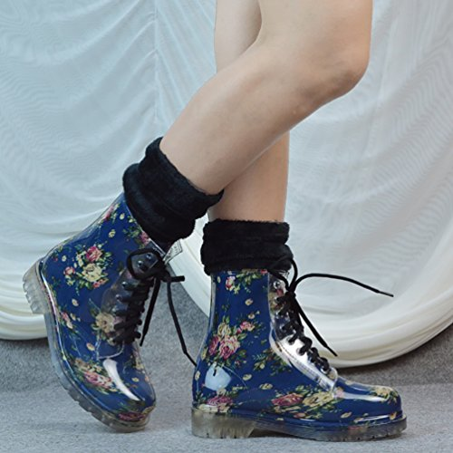 LvRao Invierno Mujeres Botas Impermeables Lluvia de Nieve Zapatos de Cordones Botines Alto de Goma Azul con Calcetines