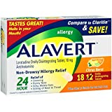 Alavert Allergy 24-Hour Relief (Citrust Burst Flavor Orally Disintegrating Tablets), Non-Drowsy, Antihistamine, 18 Count (Pack of 2)