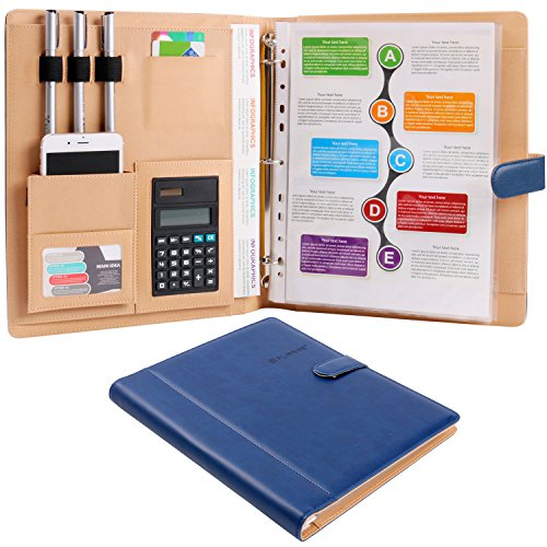 Binder Portfolio (Plinrise High Grade Multifunction Letter Size Padfolio/ Resume Portfolio Folder-Document Organizer / Business Card Holder With Calculator And 8 File Pockets ( Blue ))