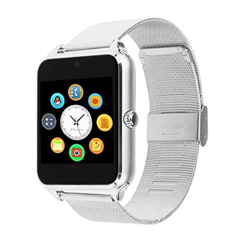Bluetooth Touch Screen Smart Watch, Beafup Stainless Steel Wristwatch with Camera/SIM Card Slot Call SMS Remind Sleep Monitor Pedometer Support SIM TF Card for iOS and Android (Silver Metal)