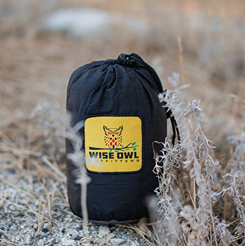 Wise Owl Outfitters Hammock for Camping Single & Double Hammocks Gear for The Outdoors Backpacking Survival or Travel - Portable Lightweight Parachute Nylon DO Black & Grey