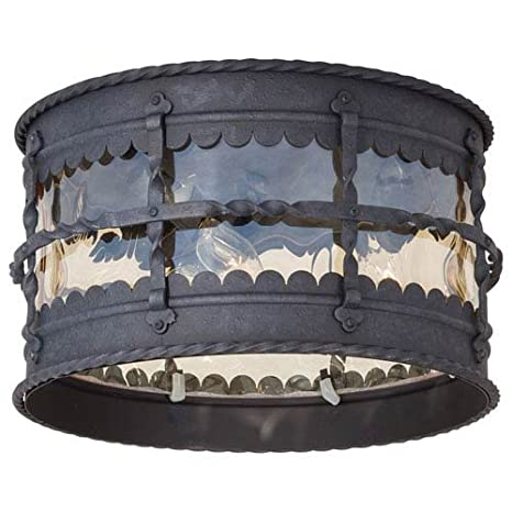 The Great Outdoors 8889 A39 Mallorca 3 Light Outdoor 7 Flush Mount In Iron Finish