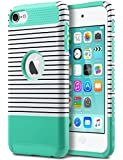 iPod Touch 6 Case,iPod Touch 5 Case,ULAK [Colorful Series] 2-Piece Style Hybrid Hard Case Cover for Apple iPod touch 5 6th Generation (Minimal Mint Stripes)