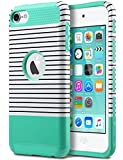 ULAK iPod Touch 7 Case, iPod Touch 6 Case, Slim Fit Dual Layer Hard PC Back+TPU Shockproof Interior Protective Case Cover for Apple iPod Touch 5th/6th/7th Generation, Minimal Mint Stripes