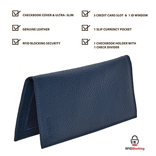 Leather Checkbook Cover Holder for Women - Standard Register Duplicate Checks RFID Card Slim Mens Wallet by Estalon (Image #2)