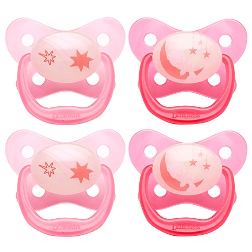 Dr. Browns PreVent Contour Glow in the Dark Pacifier, Stage 3 (12m+), Pink, 4-Count