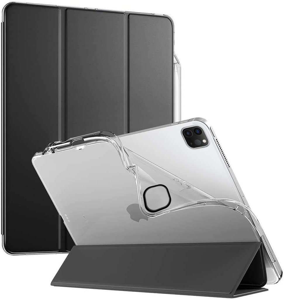 Poetic Lumos X Series Designed for Apple iPad Pro 12.9 2020 & 2018 Case, Smart Cover with Apple Pencil Holder, Flexible Soft Clear TPU Back, Slim Fit Trifold Stand Folio Front, Black