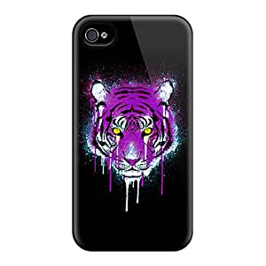 High Impact Dirt/shock Proof Case Cover For Iphone 4/4s (purple And Gold Tiger)