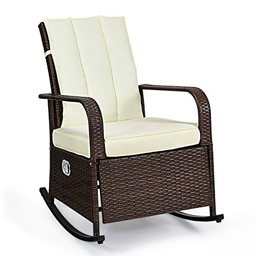 Tangkula Outdoor Wicker Rocking Chair, Modern Rattan Chair with Cushioned Seating and Back, Auto Adjustable Rattan Reclining Chair, Space Saving Design, Garden Lawn Balcony Backyard Patio Furniture (Rattan Design Furniture)