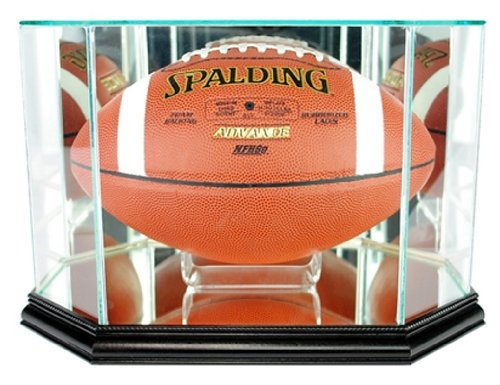 Perfect Cases NFL Octagon Football Glass Display Case, (Black Acrylic Football Display Case)