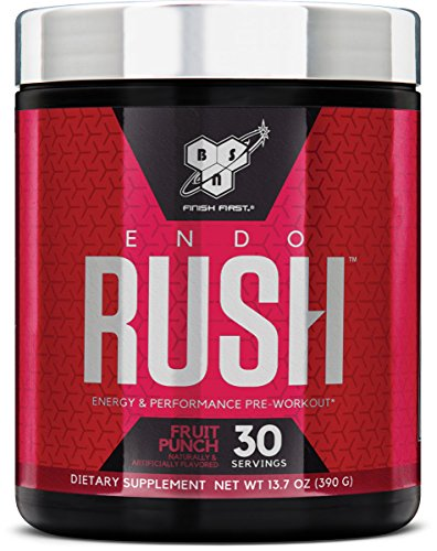BSN Endorush Pre-workout Powder, Fruit Punch Flavor Energy Supplement for Men and Women, 300mg of Caffeine, with Beta-Alanine and Creatine, 30 Servings