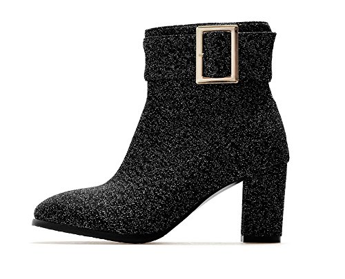 AgooLar Women's Heels Silver Boots Zipper Lining Solid High Toe Square Velvet ddcSrTv