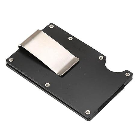 yjydada Hombres Cartera Tarjeta de crédito clip de dinero cartera de aluminio soporte de metal con