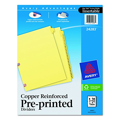 Avery Copper Reinforced Preprinted Tab - Avery  Copper Reinforced Preprinted Dividers with 1-31 Tabs, 31-Tab Set (24283)