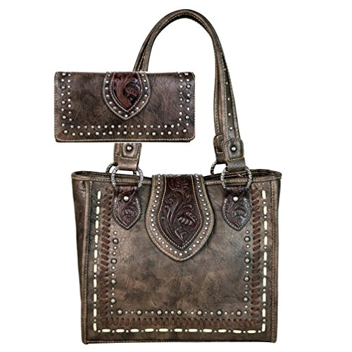 Trinity Ranch by Montana West Tote Handbag Wallet Set Western Tooling TR57-8390 (Coffee) by Montana West