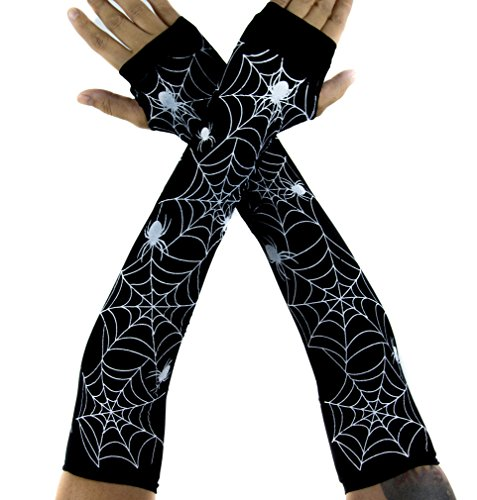 Spider Web Fingerless Elbow Gloves Arm Warmers Alternative Halloween (Spider Web Fingerless Gloves)