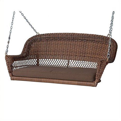 Pemberly Row Honey Wicker Porch Swing Brown Cushion