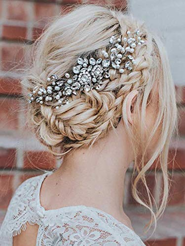 Barogirl Bride Hair Comb Wedding Rhinestones Headpiece Boho Bridal Flower Hair Accessories for Women (Silver)