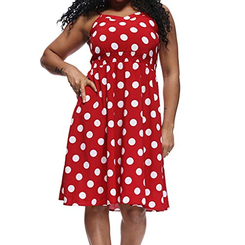 Mikilon Women Summer Spaghetti Straps Polka Dots Backless Party Club Beach Mini Dresses