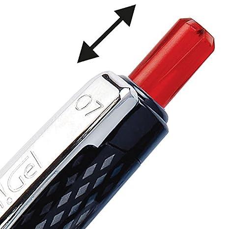 confezione da 12 OH Gel Pentel-Penna a sfera con punta retrattile K497-B colore: rosso tratto 0,35 mm punta da 0,7 mm