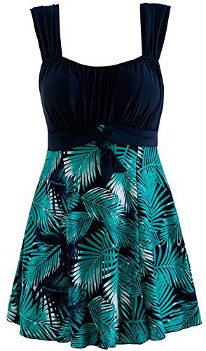 Wantdo Women's Cross Bow Solid Color One Piece Swimsuit Swimdress Green Flower US 16-18 ()