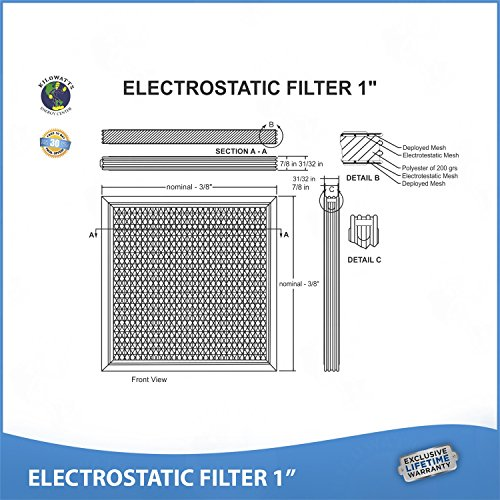 16x25x1 Lifetime Air Filter - Electrostatic Washable Permanent A/C Furnace Air Filter by Kilowatts Energy Center (Image #5)