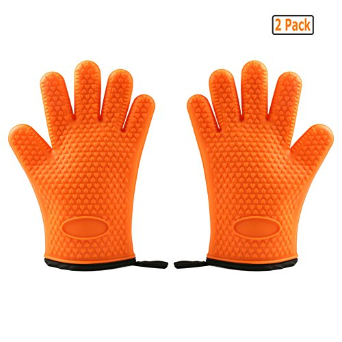 GuDoQi Pair of Silicone Oven Gloves Heat Resistant BBQ Cooking Gloves & Oven Mitts With Protective Lining Waterproof Cooking Gloves For BBQ Grill, Oven, Fire Pit, etc