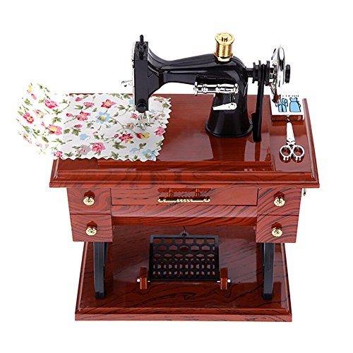Price comparison product image Balai Retro Super Mini Sewing Machine Music Box Classical Desk Decor Clockwork Style Musical Box