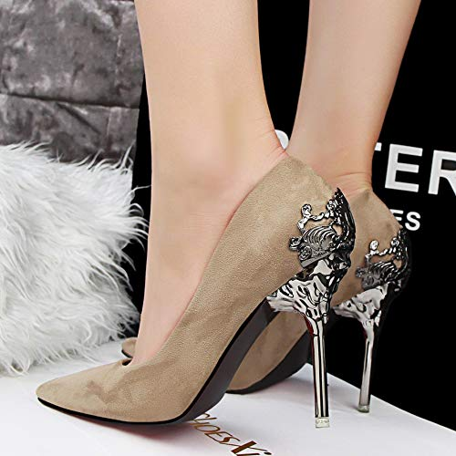 Yukun zapatos de tacón alto Vestido De Plata De Tacones Altos 10Cm Stiletto Acentuado Zapatos De Hadas Princess Shallow Breath Temperamento De Primavera Y Otoño Wild Single Shoes, 39, Verde Khaki
