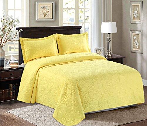Maiija 3 Piece Embossed Floral Pattern Oversized Bedspread Coverlet (King/Queen) (King, Yellow)
