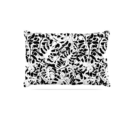 Kess InHouse Julia Grifol Flowers in White & Black  Fleece Dog Bed, 30 by 40