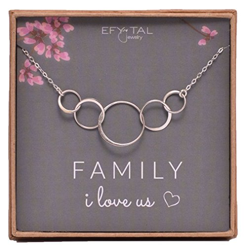 Sterling Silver Family Necklace For Mom of 3 Children I Love Us Card 5 kids Mothers Day Jewelry Wife Gift