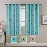 H.VERSAILTEX Noise Reducing Thermal Insulated Blackout Curtains Panels for Bedroom Grommet Curtain Drapes (2 Panels) for Living Room, Turquoise Blue Birds Pattern - 52 by 63 inch Long