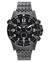 Xezo Air Commando Swiss-Quartz Pilots Dive Black and Gun-Metal Chronograph Watch D45-B, PRTL. GMT, 300 Meters WR