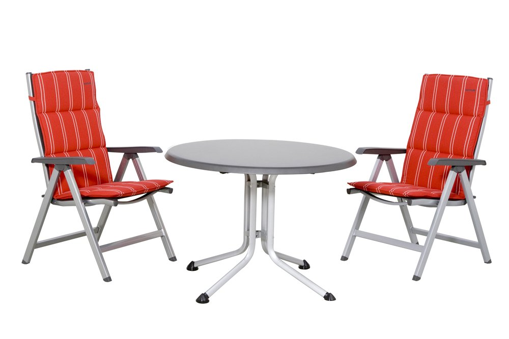 KETTLER 890668 Kettler Balkonset Basic Aluminium silber/grau bestehend aus: 2x Klappsessel Basic silber/grau, 2x Sesselauflage hoch Dessin Kettler 396-01436 streifen rot, 1x Tisch silber / grau