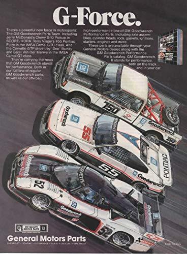 Magazine Print Ad: 1987 GM Goodwrench Parts Team, Jerry McDonald Chevy S-10 Pickup SCORE/HDRA, Terry Visger #5 Pontiac Fiero IMSA Camel GTU, Doc Bundy #52 Corvette GTP MSA Camel GT,