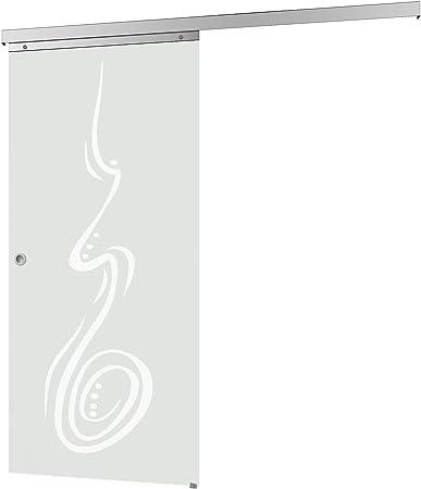 Inova Cristal corredero 755 X 2035 mm Curved 8 mm Juego completo de puerta corredera Herraje de aluminio opcional softclose, Griffmuschel+Softclose: Amazon.es: Hogar