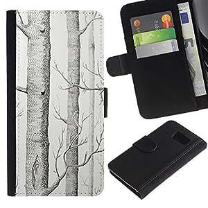 All Phone Most Case / Oferta Especial Cáscara Funda de cuero Monedero Cubierta de proteccion Caso / Wallet Case for Sony Xperia Z3 Compact // Tree White Art Pencil Drawing