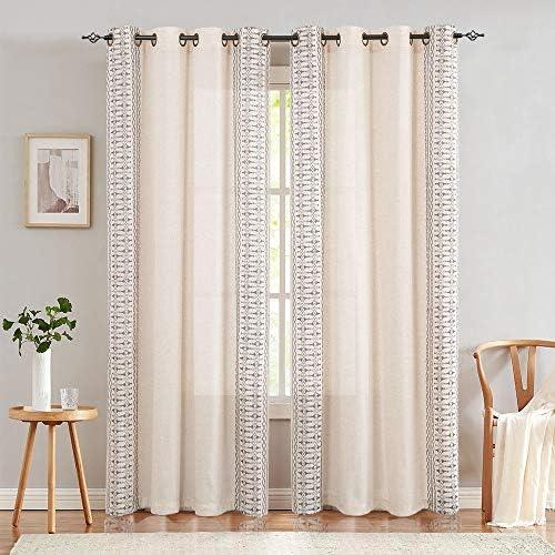 jinchan Embroidered Window Curtains for Bedroom- Quatrefoil Flax Linen Blend Textured Geometry Lattice Grommet Window Treatment Set for Living Room 50 W x 95 L 2 Panels Grey