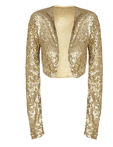 kayamiya Women Sequin Jacket Long Sleeve Sparkly Cropped Shrug Clubwear L/US 10-12 Matte Gold by kayamiya