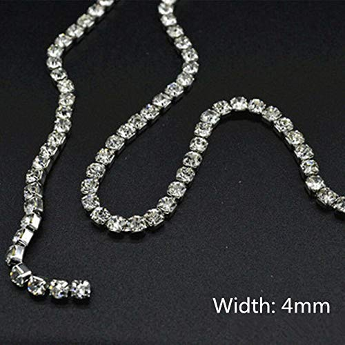 1Pc 10cm Rhinestone Chain Crystal Trim Sparkle Diamante Wedding Dress Applique (Color - #2)