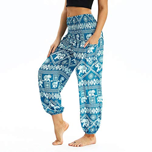 CCatyam Yoga Pants for Women, Wide Leg Trousers Print Beach Loose Sexy Casual Travel Fashion Light Blue