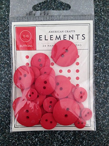 American Crafts Round Buttons Cherry