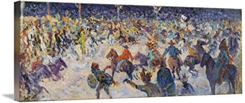 1858 Buffalo - Wall Art Print Entitled Maximilien Luce 1858-1941 The Circus of Buffalo by Celestial Images   10 x 3