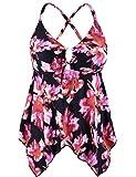 Mycoco Women's Tummy Control Front Tie Swim Top Cross Back Tankini Top Flowy Swimdress Pink Floral 14
