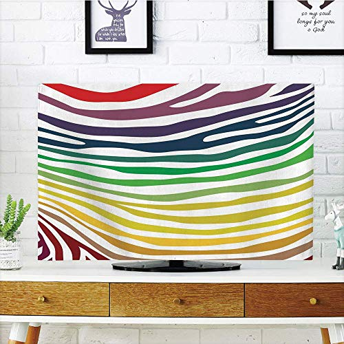 LCD TV dust Cover,Zebra Print,Colorful Zebra Stripes Pattern in Cheering Rainbow Color Modern Style Art Decorative,Red Yellow Green,3D Print Design Compatible 70