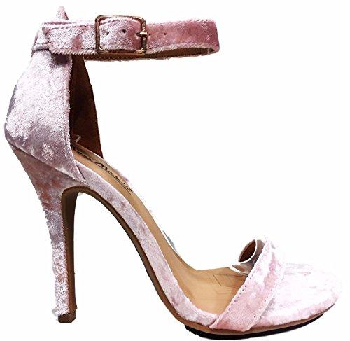 Anne Michelle Girltalk-11m Fluwelen Enkelbandje Open Peep Toe Naaldhak Sandalen Schoen Roze Roze