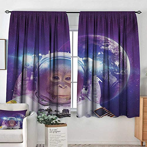 - Space Patterned Drape for Glass Door Astronaut Monkey on Outer Space with Planet Earth Background Humor Image Print Blackout Draperies for Bedroom 63