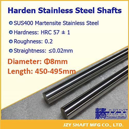 Length: D8 x 460mm, Diameter: Roughness Type A Ochoos Dia 8mm L450-495mm 3pcs//lot Hardened Round Rod SUS400 Stainless Steel Rod Straight Linear Transmission Guide Part HRC57