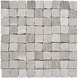 "Marble Mosaic Tile, ""Rabat Collection"", MM 1102 - Patio, 1-1/4""X1-1/4"" Square, 12""X12"", Tumbled (Sample (4""X4""))"